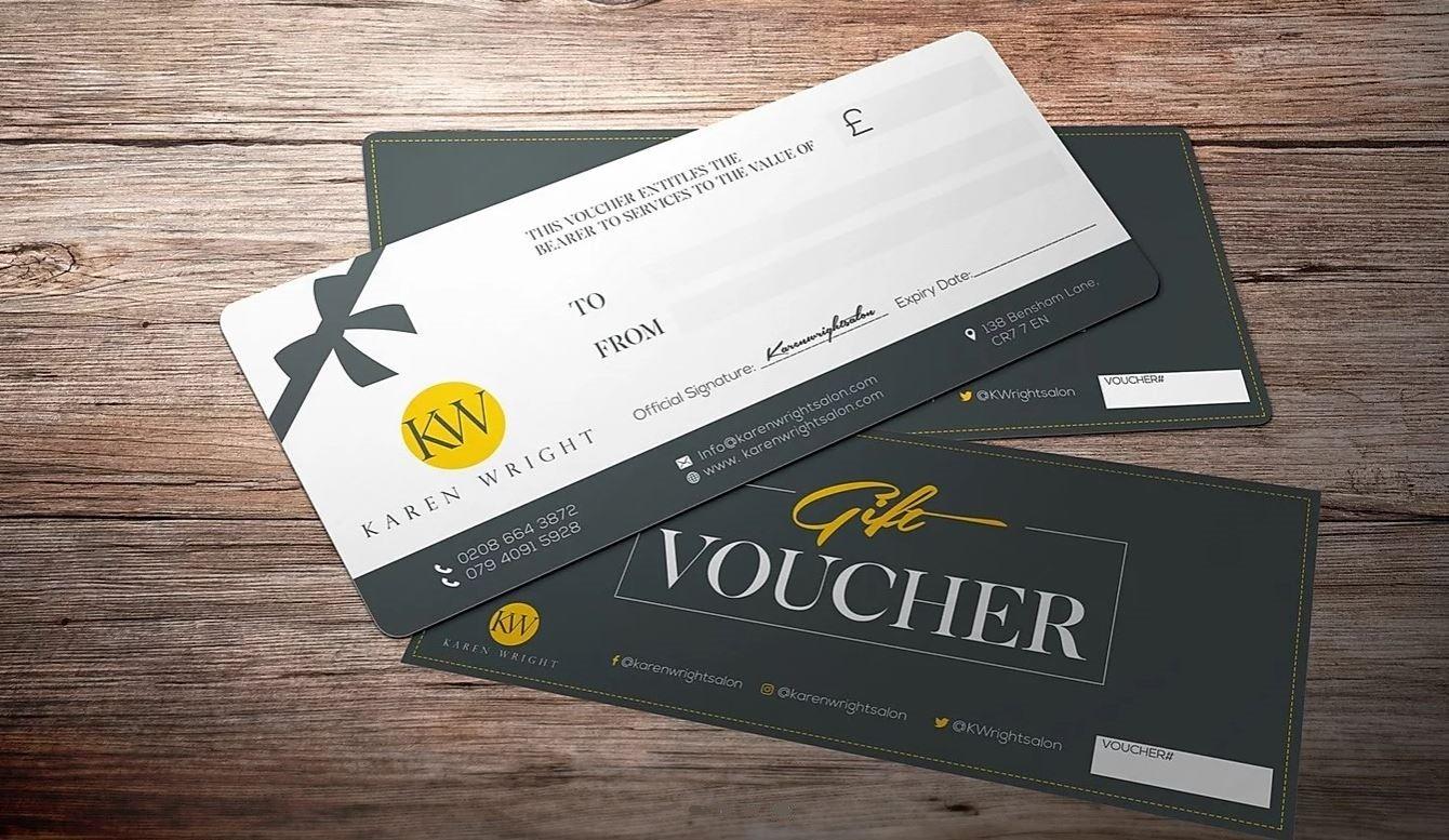 gift vouchers at karen wright hair salon, thornton heath, croydon, south london